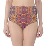 Oriental Watercolor Ornaments Kaleidoscope Mosaic High-Waist Bikini Bottoms