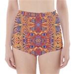 Oriental Watercolor Ornaments Kaleidoscope Mosaic High-Waisted Bikini Bottoms