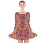 Oriental Watercolor Ornaments Kaleidoscope Mosaic Long Sleeve Velvet Skater Dress