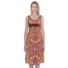 Oriental Watercolor Ornaments Kaleidoscope Mosaic Midi Sleeveless Dress by EDDArt