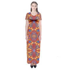 Oriental Watercolor Ornaments Kaleidoscope Mosaic Short Sleeve Maxi Dress by EDDArt