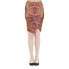 Oriental Watercolor Ornaments Kaleidoscope Mosaic Midi Wrap Pencil Skirt by EDDArt