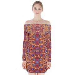 Oriental Watercolor Ornaments Kaleidoscope Mosaic Long Sleeve Off Shoulder Dress by EDDArt