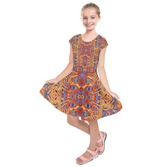 Oriental Watercolor Ornaments Kaleidoscope Mosaic Kids  Short Sleeve Dress by EDDArt