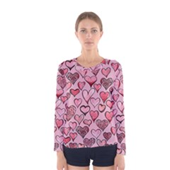 Artistic Valentine Hearts Women s Long Sleeve Tee by BubbSnugg