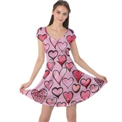 Artistic Valentine Hearts Cap Sleeve Dresses by BubbSnugg