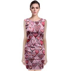 Artistic Valentine Hearts Classic Sleeveless Midi Dress by BubbSnugg
