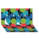 Vibrant Retro Pattern Twin Hearts 3D Greeting Card (8x4)