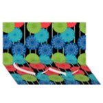 Vibrant Retro Pattern Twin Heart Bottom 3D Greeting Card (8x4)