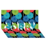 Vibrant Retro Pattern SORRY 3D Greeting Card (8x4)