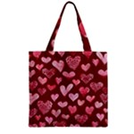 Watercolor Valentine s Day Hearts Zipper Grocery Tote Bag