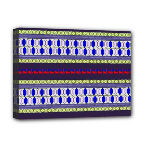 Colorful Retro Geometric Pattern Deluxe Canvas 16  X 12   by DanaeStudio