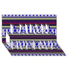Colorful Retro Geometric Pattern Laugh Live Love 3d Greeting Card (8x4) by DanaeStudio