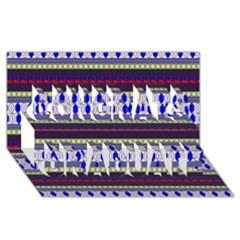 Colorful Retro Geometric Pattern Congrats Graduate 3D Greeting Card (8x4) by DanaeStudio