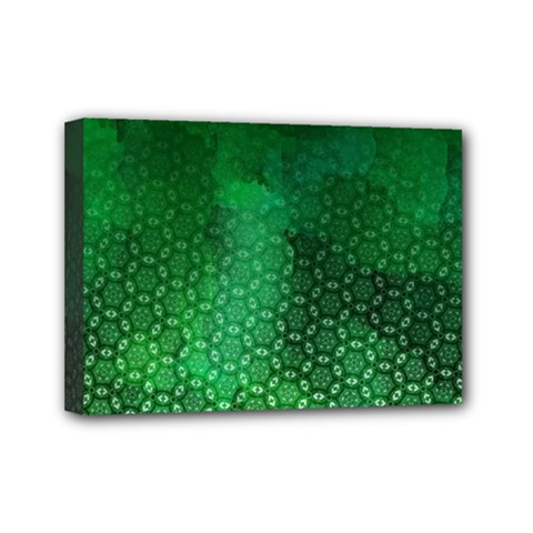 Ombre Green Abstract Forest Mini Canvas 7  X 5  by DanaeStudio