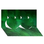 Ombre Green Abstract Forest Twin Hearts 3D Greeting Card (8x4)