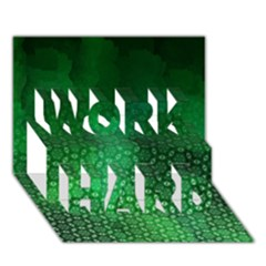 Ombre Green Abstract Forest Work Hard 3d Greeting Card (7x5) by DanaeStudio