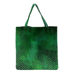 Ombre Green Abstract Forest Grocery Tote Bag by DanaeStudio