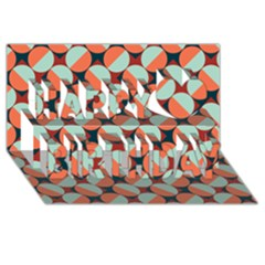 Modernist Geometric Tiles Happy Birthday 3d Greeting Card (8x4) by DanaeStudio