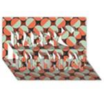 Modernist Geometric Tiles Happy Birthday 3D Greeting Card (8x4)