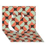 Modernist Geometric Tiles Heart 3D Greeting Card (7x5)