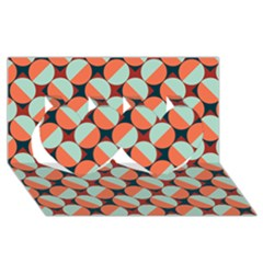Modernist Geometric Tiles Twin Hearts 3d Greeting Card (8x4) by DanaeStudio