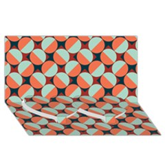 Modernist Geometric Tiles Twin Heart Bottom 3d Greeting Card (8x4) by DanaeStudio