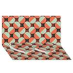 Modernist Geometric Tiles Twin Heart Bottom 3D Greeting Card (8x4)