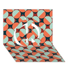 Modernist Geometric Tiles Peace Sign 3d Greeting Card (7x5) by DanaeStudio