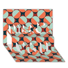 Modernist Geometric Tiles Miss You 3d Greeting Card (7x5) by DanaeStudio