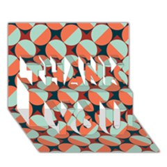 Modernist Geometric Tiles Thank You 3d Greeting Card (7x5) by DanaeStudio