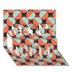 Modernist Geometric Tiles Get Well 3d Greeting Card (7x5) by DanaeStudio