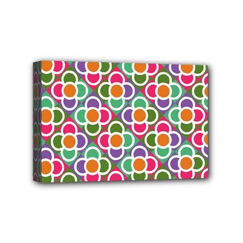 Modernist Floral Tiles Mini Canvas 6  X 4  by DanaeStudio