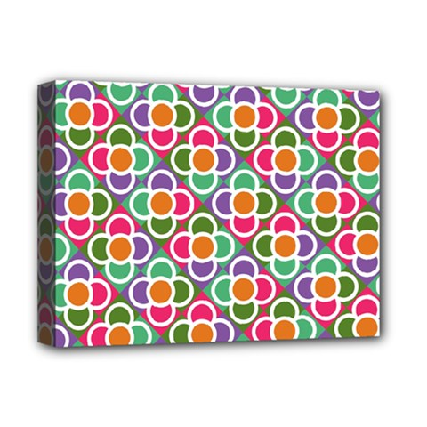 Modernist Floral Tiles Deluxe Canvas 16  X 12   by DanaeStudio