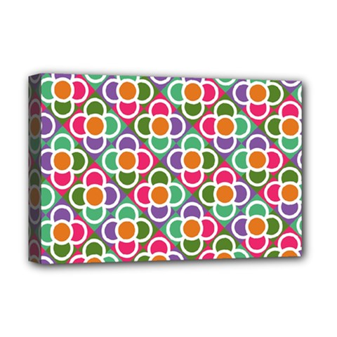 Modernist Floral Tiles Deluxe Canvas 18  X 12   by DanaeStudio