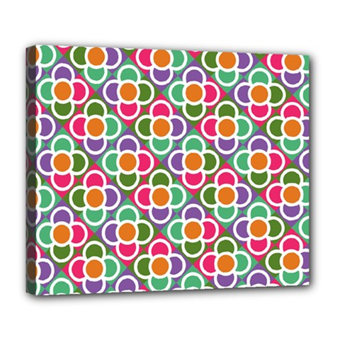 Modernist Floral Tiles Deluxe Canvas 24  X 20   by DanaeStudio