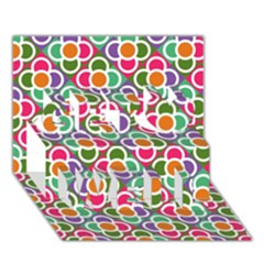 Modernist Floral Tiles Get Well 3d Greeting Card (7x5) by DanaeStudio