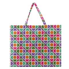 Modernist Floral Tiles Zipper Large Tote Bag by DanaeStudio