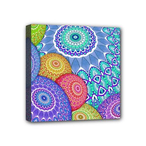 India Ornaments Mandala Balls Multicolored Mini Canvas 4  X 4  by EDDArt