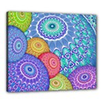 India Ornaments Mandala Balls Multicolored Canvas 24  x 20