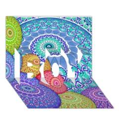 India Ornaments Mandala Balls Multicolored Boy 3d Greeting Card (7x5) by EDDArt
