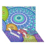 India Ornaments Mandala Balls Multicolored LOVE Bottom 3D Greeting Card (7x5)