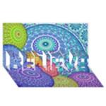India Ornaments Mandala Balls Multicolored BELIEVE 3D Greeting Card (8x4)