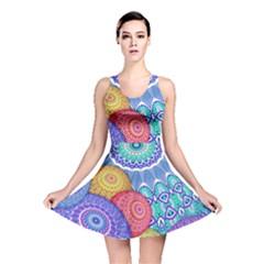 India Ornaments Mandala Balls Multicolored Reversible Skater Dress by EDDArt
