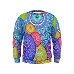 India Ornaments Mandala Balls Multicolored Kids  Sweatshirt by EDDArt