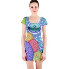 India Ornaments Mandala Balls Multicolored Short Sleeve Bodycon Dress by EDDArt