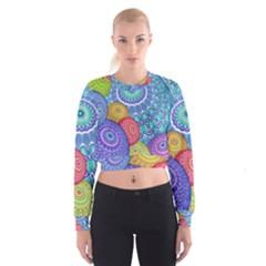 India Ornaments Mandala Balls Multicolored Women s Cropped Sweatshirt by EDDArt