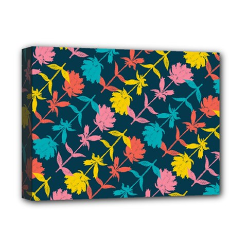 Colorful Floral Pattern Deluxe Canvas 16  X 12   by DanaeStudio