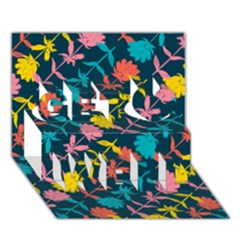 Colorful Floral Pattern Get Well 3d Greeting Card (7x5) by DanaeStudio