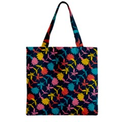 Colorful Floral Pattern Grocery Tote Bag by DanaeStudio